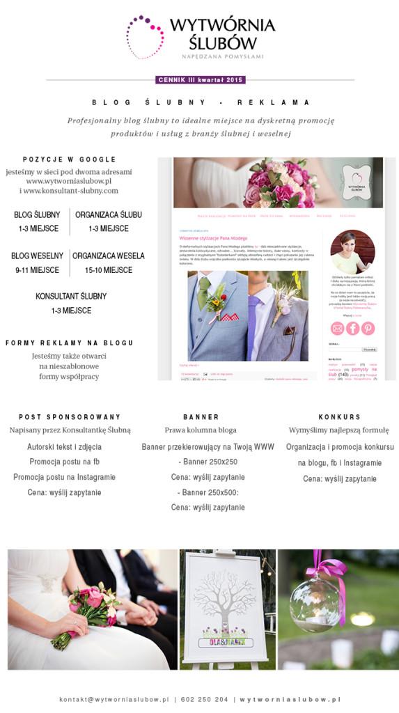 reklama na blogu ślubnym