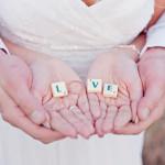 dekoracje ślubne - motyw Scrabble