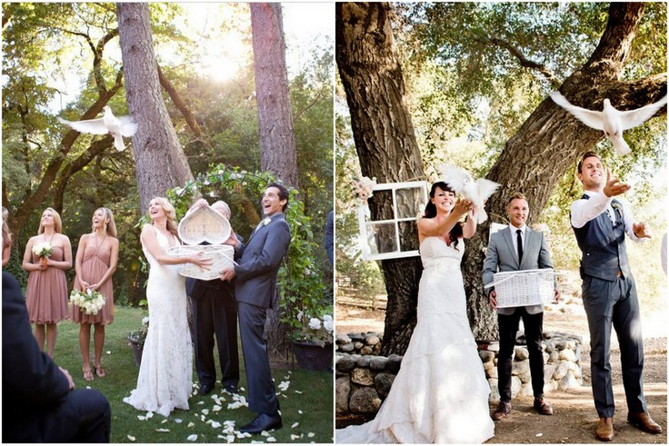 Białe gołębie na ślubie